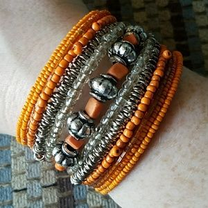 Orange and silver wire and bead bracelet cuff